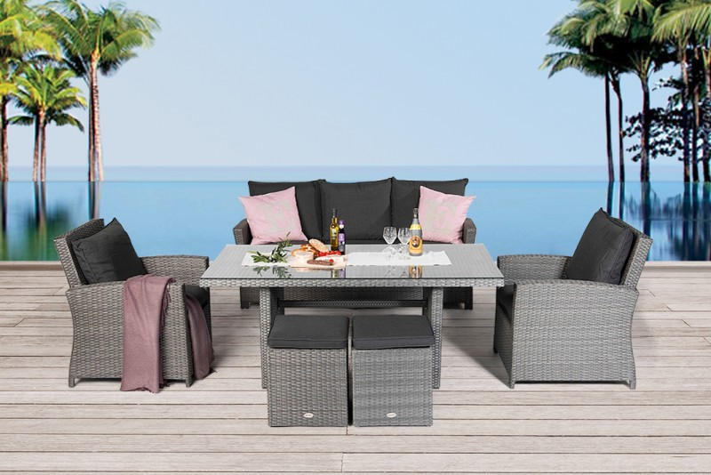 brisbane rattan dining lounge mixed grey - Gartenmobel Grau Rattan