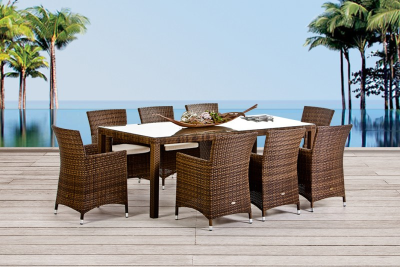 Montreal Dining Set 220, Mixed Brown