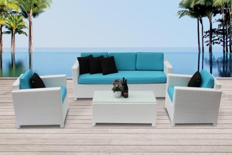 Rattan Gartenmoebel Lounge 3er Weiss
