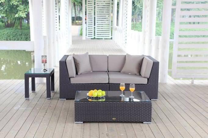 Rattan Lounge - Sofa braun